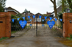 Thank you NHS hearts on gate of house during Coronavirus pandemic, Reading, UK, March 2021