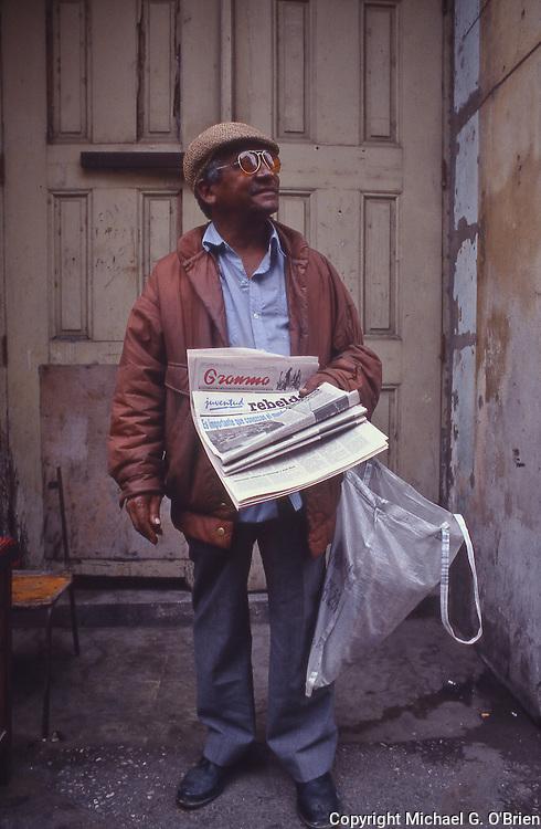 Gramma paper vendor in Havana, Cuba