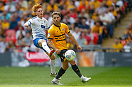 Tranmere Rovers midfielder Ben Pringle (27) battles for possession with Newport County midfielder Robbie Willmott (7) during the EFL Sky Bet League 2 Play Off Final match between Newport County and Tranmere Rovers at Wembley Stadium, London, England on 25 May 2019.