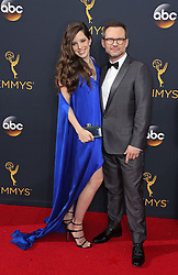 Christian Slater, Brittany Lopez arriving for The 68th Emmy Awards at the Microsoft Theater, LA Live, Los Angeles, 18th September 2016.