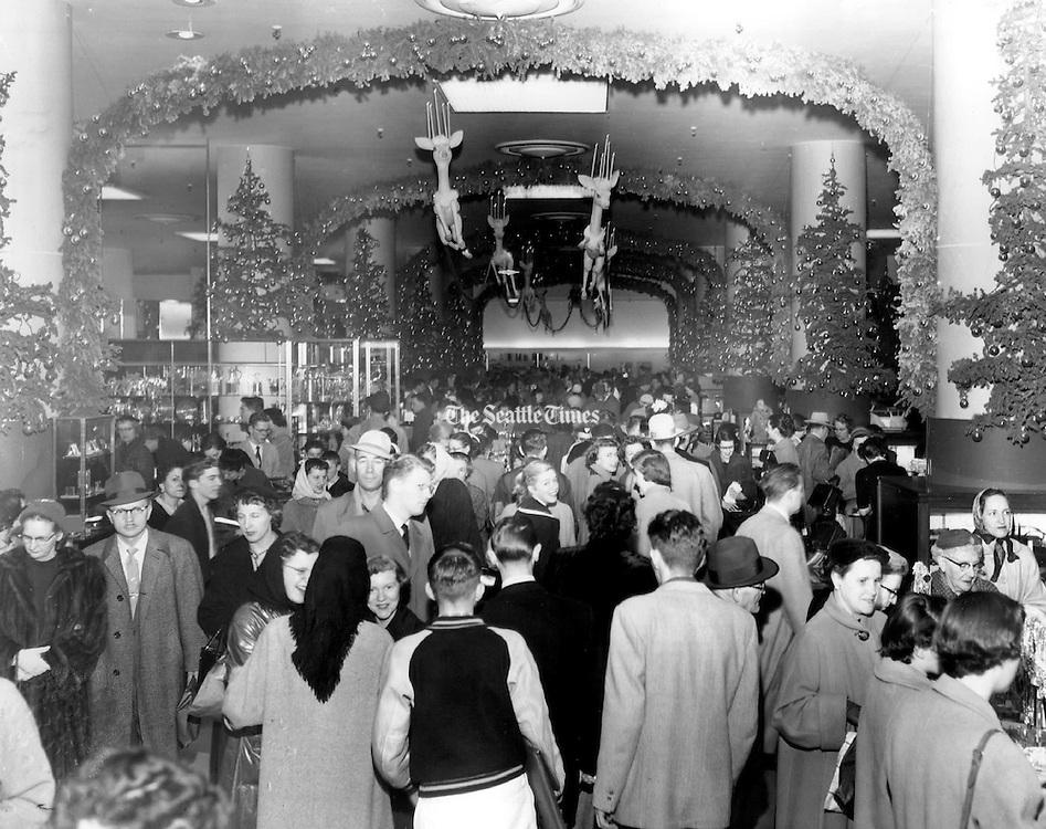 Frederick & Nelson's sumptuous Christmas decorations made the store a destination through the holiday season. (Seattle Times archives, 1954)