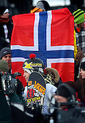 SHOT 1/26/08 3:58:43 PM - Norwegian snowboarder Andreas Wiig  from Oslo was all smiles while being interviewed in front of the flag of Norway after winning the Snowboard Slopestyle event Saturday January 26, 2008 at Winter X Games Twelve in Aspen, Co. at Buttermilk Mountain. Wiig won the event with a score of 92.00, beating out U.S. riders Kevin Pearce (88.33) and Shaun White (83.33). It was the second year in a row Wiig has won gold in the event. The 12th annual winter action sports competition features athletes from across the globe competing for medals and prize money is skiing, snowboarding and snowmobile. Numerous events were broadcast live and seen in more than 120 countries. The event will remain in Aspen, Co. through 2010..(Photo by Marc Piscotty / WpN © 2008)