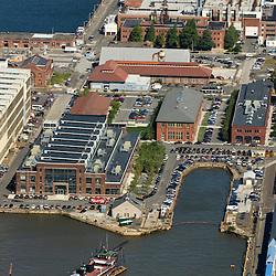 Aerial views of  Philadelphia Shipyard, urban outfitters