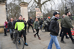 © Licensed to London News Pictures. 20/03/2021. London, UK. Anti-vaccination and anti-lockdown protesters take part in an organised demonstration in central London. The event took place to commemorate the first anniversary when the UK the first lockdown on 23rd March 2020 due to the rise in Covid-19 cases. Photo credit: Ray Tang/LNP