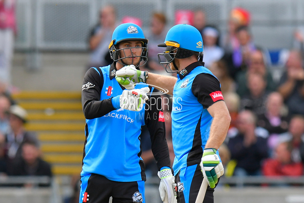 Ed Barnard of Worcestershire and Ben Cox of Worcestershire touch gloves during the Vitality T20 Finals Day Semi Final 2018 match between Worcestershire Rapids and Lancashire Lightning at Edgbaston, Birmingham, United Kingdom on 15 September 2018.
