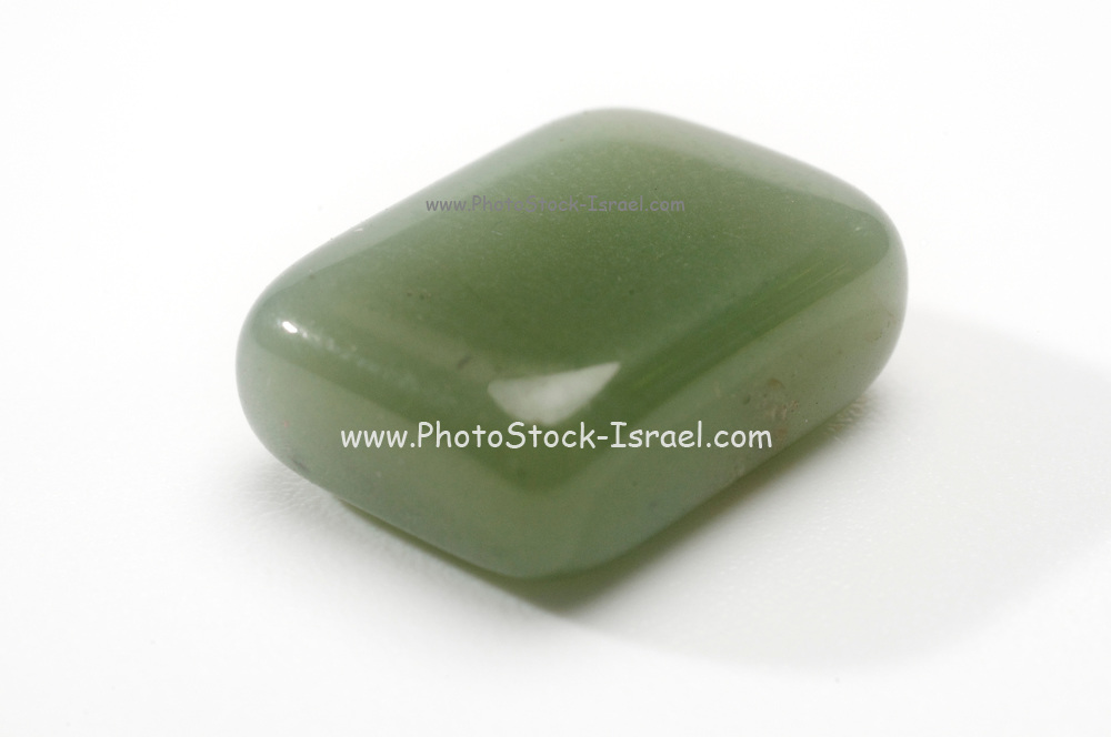 Jade Semiprecious Gemstone on white background