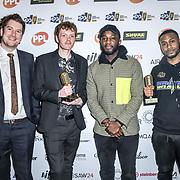 UK single song release of the year Winner Chris Andoh, Liam Nolan, Darren Jones, Mark Spike Stent of The Music Producers Guild Awards at Grosvenor House, Park Lane, on 27th February 2020, London, UK.