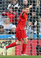 Football - English Premier League - Newcastle v Liverpool<br /> <br /> Daniel Agger of Liverpool celebrates scoring during the Newcastle v LiverpoolEnglish Premier League match at St James Park, Newcastle.<br /> 27th April 2013<br /> <br /> Colorsport