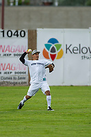 KELOWNA, CANADA - JUNE 28: Retired NHL player Jordin Tootoo throws the ball in the outfield during the opening charity game of the Home Base Slo-Pitch Tournament fundraiser for the Kelowna General Hospital Foundation JoeAnna's House on June 28, 2019 at Elk's Stadium in Kelowna, British Columbia, Canada.  (Photo by Marissa Baecker/Shoot the Breeze)