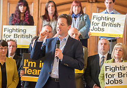LNP HIGHLIGHTS OF THE WEEK 25/04/14 © Licensed to London News Pictures. 24/04/2014. Colchester, UK Deputy Prime Minister Nick Clegg launches the Liberal Democrat 2014 European Election Campaign and manifesto on Thursday 24 April in Colchester Town Hall. Photo credit : Stephen Simpson/LNP