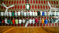 June 24, 2017 - Colombo, Sri Lanka - Sri Lankan Muslim men  offer prayers inside a mosque in Colombo, Sri Lanka on Saturday 24 2017.Muslims across the world are marking the holy month of Ramadan, a period of intense prayer, self-discipline, dawn-to-dusk fasting and nightly feasts  (Credit Image: © Tharaka Basnayaka/NurPhoto via ZUMA Press)