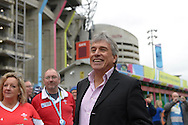 ITV Rugby World Cup 2015 Presenter John Inverdale presenting outside Twickenham Stadium with Wales fans before k/o.Rugby World Cup 2015 quarter final match, South Africa v Wales at Twickenham Stadium in London, England  on Saturday 17th October 2015.<br /> pic by  John Patrick Fletcher, Andrew Orchard sports photography.