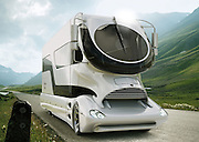 """Marchi Mobile based in Vienna, Austria recently debuted a series of three concept vehicles, including their ultra-luxurious eleMMent RV. Targeted at """"lovers of the extraordinary"""" the Marchi Mobile product portfolio encompasses the """"Viva"""" - a VIP business shuttle - the """"Visione"""" - a 12 metre long mobile corporate studio – and the spectacular """"eleMMent"""" RV.<br />The eleMMent motor home is comprised of two constituent parts; a stunning $425,000, 38 foot long and 13-feet 6 inch tall, 10 ton tractor - conceived by the renowned German industrial designer Luigi Colani – and a sumptuously outfitted 30 square metre custom-built coach topped by a 20 square metre, all-weather upper deck Sky Lounge that's equipped with both under floor heating and a water misting system – not forgetting the AV system and bar - so that you can enjoya year roundview from your RV rooftop from the Tropics to the Siberian steppes. As the coach is a bespoke made to order product, Marchi Mobile have provided no price guidelines for outfitting the unit. Needless to say, if you have to ask you probably can't afford it.<br />The cab rests on a DAF XF 105 chassis equipped with a max 530hp, 6-cylinder and 4-valve turbocharged diesel engine. Colani's lightweight aerodynamic cab provides a significant boost to the unit's fuel efficiency, returning an estimated 8.7 mpg back in 2009. A figure that was at the time almost double that of the average US tractor. The cab design is somewhat akin to that of the Most Futuria - a German built corporate promotions vehicle – another high-end tractor-trailer RV combo with a built-in rear car garage..<br />The eleMMent coach concept includes a master bedroom and combined bathroom (restroom is enclosed) whilst the luxurious lounge – which boasts a hardwood floor, bar and height adjustable plush lounge seating - is crowned by a full length rooftop skylight and separated from the cab by a large set of opaque glass doors. Access to the covered sky lo"""