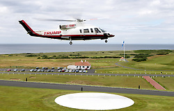 Eric Trump, son of US President Donald Trump, travels in the Trump helicopter after the opening of the new golf course at Trump Turnberry in Ayrshire.