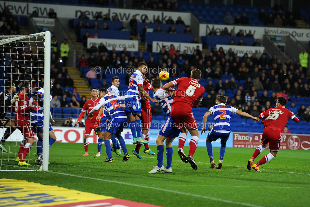 Reading's Alex Pearce puts the ball into his own net for an own goal to make it 1-o to Cardiff. Skybet football league championship match, Cardiff city v Reading at the Cardiff city stadium in Cardiff, South Wales on Friday 21st November 2014<br /> pic by Andrew Orchard, Andrew Orchard sports photography.