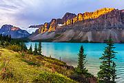 Dawn light on the Crowfoot Glacier above Bow Lake, Banff National Park, Alberta, Canada