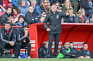 Charlton Athletic manager Lee Bowyer shouting and pointing at pitch during the EFL Sky Bet League 1 match between Charlton Athletic and Rochdale at The Valley, London, England on 4 May 2019.