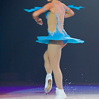 Hungarian skating champion Julia Sebestyen performs during an ice show celebrating the first anniversary of Syma Centre.
