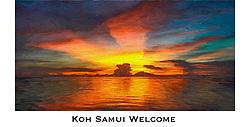 Natural sunset at Nathon, Koh Samui, Thailand, revisioned as textured painting