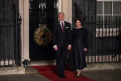 London, UK. 3 December, 2019. Gitanas Nausėda, President of Lithuania, arrives with his wife Diana Nausėdienė for a reception for NATO leaders at 10 Downing Street on the eve of the military alliance's 70th anniversary summit at a luxury hotel near Watford.