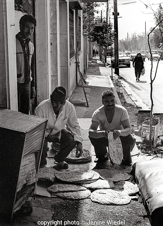 Bakers making and delivering flat bread in Tehran baker Iran  1970s