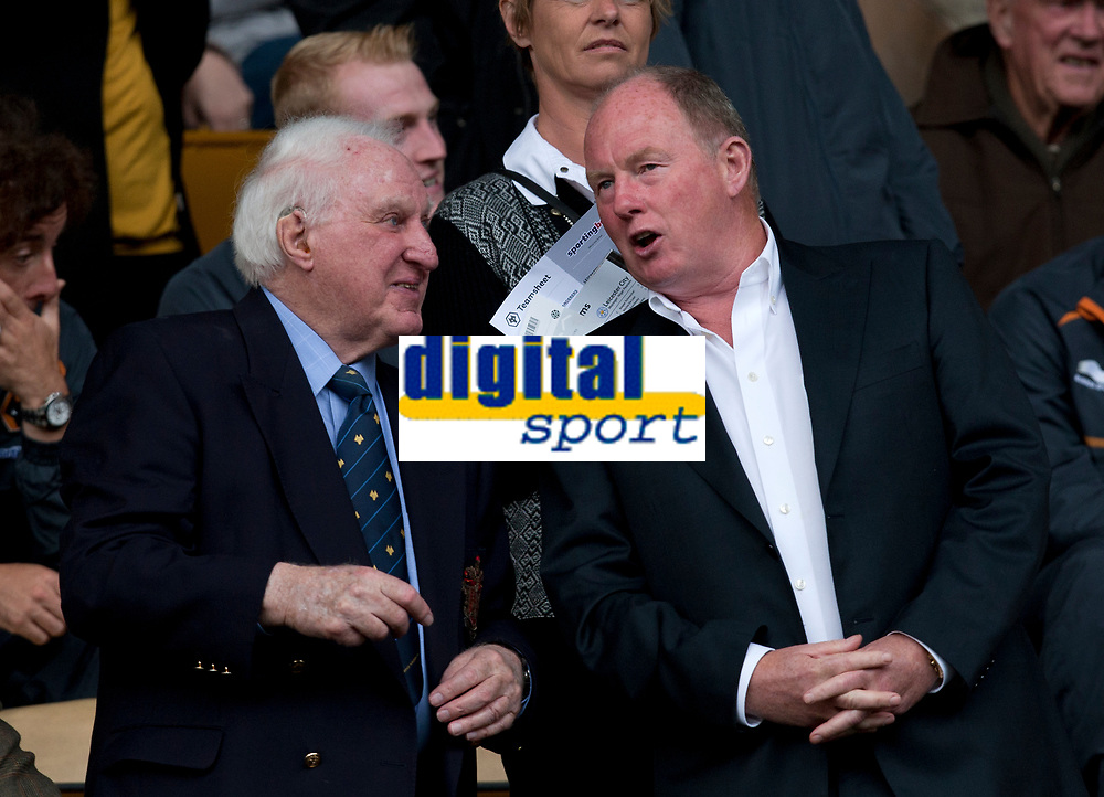 Football - The Championship- Wolverhampton Wanderers v Leicester City - Chairman Steve Morgan chats with former owner Jack Hayward   at Molineux