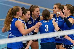 26-10-2019 NED: Talentteam Papendal - Sliedrecht Sport, Ede<br /> Round 4 of Eredivisie volleyball - Jolijn de Haan #4 of Sliedrecht Sport, Emma Rekar #5 of Sliedrecht Sport, Fleur Savelkoel #6 of Sliedrecht Sport, Esther van Berkel #7 of Sliedrecht Sport