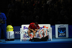 November 17, 2017 - London, England, United Kingdom - Dominic Thiem of Austria against David Goffin of Belgium during Day six of the Nitto ATP World Tour Finals played at The O2 Arena, London on November 17 2017  (Credit Image: © Alberto Pezzali/NurPhoto via ZUMA Press)