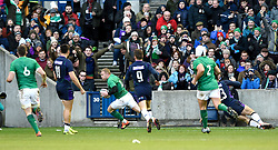 Ireland's Keith Earls scores his side's fourth try of the game during the Guinness Six Nations match at BT Murrayfield, Edinburgh.