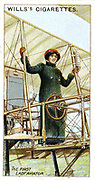 Baroness Raymonde Delaroche also known as Elise Deroche (1886-1919), first woman to hold pilot's licence. On 3 November 1909  she flew a Voisin biplane 1,000 yards. From set of cards on aviation published 1910. Chromolithograph.
