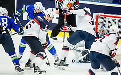 Ken Ograjensek of Slovenia and Blaz Gregorc of Slovenia vs Connor Murphy of USA, Seth Jones of USA and Connor Hellebuyck of USA during Ice Hockey match between Slovenia and USA at Day 10 in Group B of 2015 IIHF World Championship, on May 10, 2015 in CEZ Arena, Ostrava, Czech Republic. Photo by Vid Ponikvar / Sportida