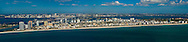 Wide aerial panorama of South Miami Beach from South Point to 23th street viewed from the east.  Downtown Miami and Biscayne Bay in the distance. This version is watermarked, contact us to license and clean version.
