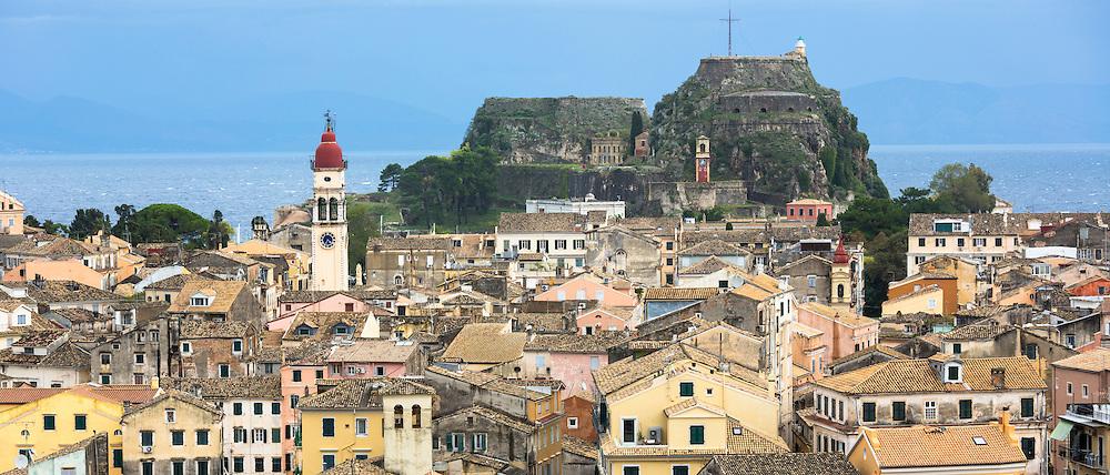 Panorama of Kerkyra, Corfu Town, Agios Spyridon church belltower, Old Fort - The Paleo Frourio in Corfu, Ionian Islands, Greece
