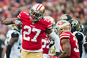 San Francisco 49ers strong safety Dexter McCoil (27) celebrates a tackle against the Jacksonville Jaguars at Levi's Stadium in Santa Clara, Calif., on December 24, 2017. (Stan Olszewski/Special to S.F. Examiner)