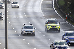 © Licensed to London News Pictures. 29/02/2020. Reigate, UK. A traffic enforcement vehicle passes the spot on clockwise carriageway of the M25 where the body of a woman was found this morning as traffic resumes. Officers have confirmed the body of a 36-year-old woman was discovered on the carriageway between junctions 8 and 10 clockwise. Photo credit: Peter Macdiarmid/LNP