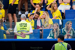 July 7, 2018 - Samara, Russia - 180707 Marcus Berg of Sweden together with his son Leonel Berg (4) and wife Josefine Ringblom after the FIFA World Cup quarter final match between Sweden and England on Jul 7, 2018 in Samara..Photo: Ludvig Thunman / BILDBYRÃ…N / kod LT / 92083 (Credit Image: © Ludvig Thunman/Bildbyran via ZUMA Press)