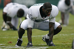 Bethlehem, Pennsylvania - Rookie Kyle Arrington stretches after the morning practice at the Eagles Training camp at Lehigh University. (Photo by Brian Garfinkel)