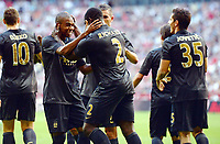 Fotball<br /> 31.07.2013<br /> Foto: Witters/Digitalsport<br /> NORWAY ONLY<br /> <br /> 2:0 Jubel v.l. Fernandinho, Torschuetze Micah Richards (Manchester)<br /> <br /> Fussball, Audi Cup 2013, 1. Halbfinale, Manchester City - AC Milan