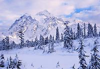 Mt. Shuksan, WA, USA.Mt. Shuksan in North Cascades National Park..Winter at Picture Lake..Brett Baunton