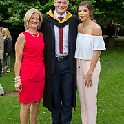 """24.08.2016        <br /> Over 300 students graduated from the Faculty of Science and Engineering at the University of Limerick today. <br /> <br /> Munster rugby player Jack O'Donoghue, Woodstown Co. Waterford was conferred with a Bachelor of Science in Pharmaceutical and Industrial Chemistry at the conferring ceremony. Jack is pictured with his mother, Caroline O'Donoghue and girlfriend, Olwen Kennedy, Dublin.Picture: Alan Place.<br /> <br /> As the University of Limerick commences four days of conferring ceremonies which will see 2568 students graduate, including 50 PhD graduates, UL President, Professor Don Barry highlighted the continued demand for UL graduates by employers; """"Traditionally UL's Graduate Employment figures trend well above the national average. Despite the challenging environment, UL's graduate employment rate for 2015 primary degree-holders is now 14% higher than the HEA's most recently-available national average figure which is 58% for 2014"""". The survey of UL's 2015 graduates showed that 92% are either employed or pursuing further study."""" Picture: Alan Place"""