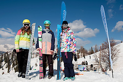 Nina Arh and Veronika Perc of Slovenia and Philomena Bair of Ausitra after Europa Cup Slopestyle Vogel 2014, on March 16, 2014 at Vogel, Slovenia. Photo by Urban Urbanc / Sportida.com