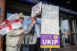 Ukip supporters outside the Ukip annual conference in Bournemouth.