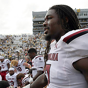 South Carolina Gamecocks defensive end Jadeveon Clowney (7) is seen after an NCAA football game between the South Carolina Gamecocks and the Central Florida Knights at Bright House Networks Stadium on Saturday, September 28, 2013 in Orlando, Florida. (AP Photo/Alex Menendez)