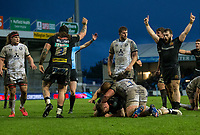 Exeter Chiefs' Sam Simmonds scores his sides third try<br /> <br /> Photographer Bob Bradford/CameraSport<br /> <br /> Gallagher Premiership Round 4 - Exeter Chiefs v Gloucester Rugby - Saturday 26th December 2020 - Sandy Park - Exeter<br /> <br /> World Copyright © 2020 CameraSport. All rights reserved. 43 Linden Ave. Countesthorpe. Leicester. England. LE8 5PG - Tel: +44 (0) 116 277 4147 - admin@camerasport.com - www.camerasport.com