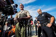 Shooting in San Bernardino.<br /> San Bernardino County Sheriff John McMahon speaks to the media at a press briefing. SBPD Chief J.Burguan is next to him.