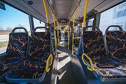 ein leerer Bus in Folge des Coronavirus-Ausbruchs in Oesterreich, aufgenommen am 15.03.2020, Wien, Oesterreich // an empty bus as a result of the coronavirus outbreak in Austria, Vienna, Austria on 2020/03/15. EXPA Pictures © 2020, PhotoCredit: EXPA/ Florian Schroetter