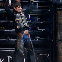 LAS VEGAS, NV - NOV 8: J.B. Mauney celebrates during round two of the Professional Bull Riders World Finals on November 8, 2018, at the T-Mobile Arena, Las Vegas, NV. (Photo by Chris Elise)
