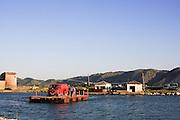 Albania, Himara, A ferry transports a car