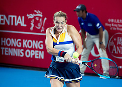 October 14, 2017 - Hong Kong, Hong Kong SAR, China - Anastasia Pavlyuchenkova returns a shot.Russia's Anastasia Pavlyuchenkova moves into the finals following a win over China's Wang Qiang during their women's singles semi-final match at the Hong Kong Open tennis tournament on October 14, 2017. (Credit Image: © Jayne Russell via ZUMA Wire)