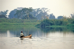 Man In Dugout Canoe On Shire River